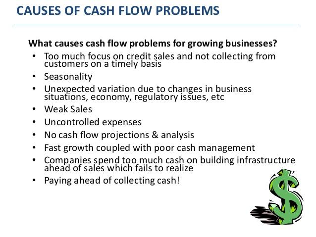 recommendations for company with cash flow problems Analyse the cash flow problems a business might 12 recommendations and solutions to the problems the money which means that the company has sold.